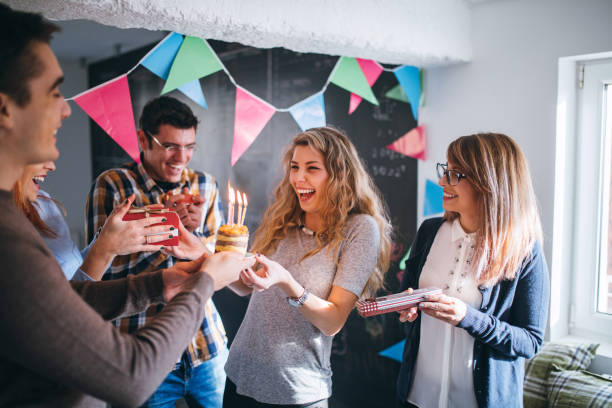 surprise for birthday on work place - best friend birthday cake stock pictures, royalty-free photos & images