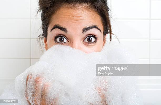 surprise, happiness and suds - bubble bath stock pictures, royalty-free photos & images