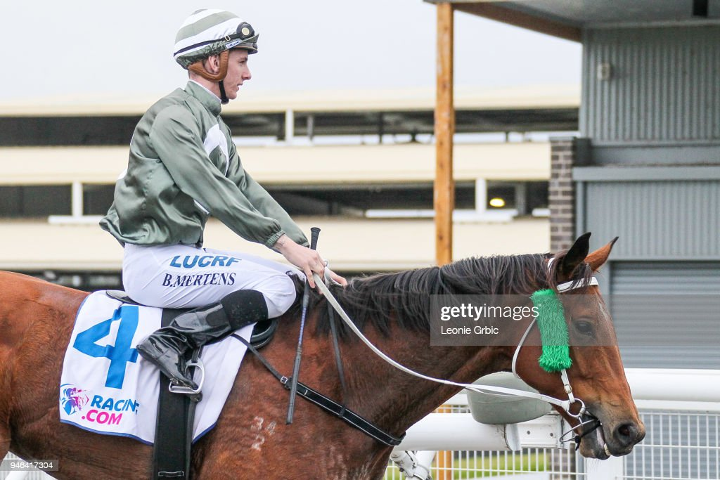 Surprise Hero ridden by Beau Mertens returns after winning the Racing.com BM58 Handicap at Racing.com Park Synthetic Racecourse on April 15, 2018 in Pakenham, Australia.