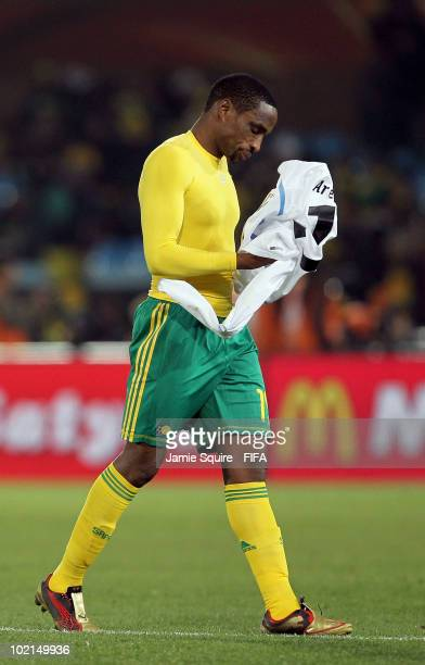 Surprise Moriri of South Africa looks dejected as he walks off the pitch after their defeat in the 2010 FIFA World Cup South Africa Group A match...