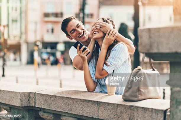 surprise - hands covering eyes stock pictures, royalty-free photos & images