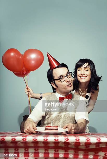 surprise - happy birthday vintage stockfoto's en -beelden