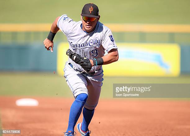 Surprise Saguaros Infielder Mauricio Ramos races to make an unassisted play at first base during the Arizona Fall League game between the Surprise...
