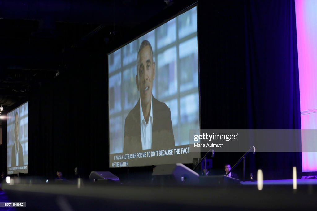 A surprise video message from Former President of the United States Barack Obama to his wife Former First Lady of the United States Michelle Obama during Pennsylvania Conference For Women 2017 at Pennsylvania Convention Center on October 3, 2017 in Philadelphia, Pennsylvania.