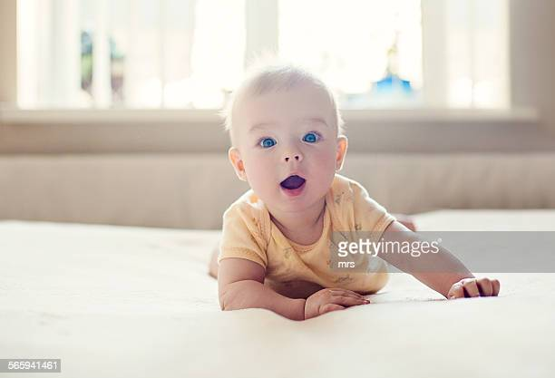 surprised baby - innocence stock pictures, royalty-free photos & images