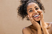 Surprised beautiful black woman