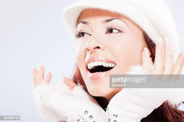 Surprised beautiful woman on winter day