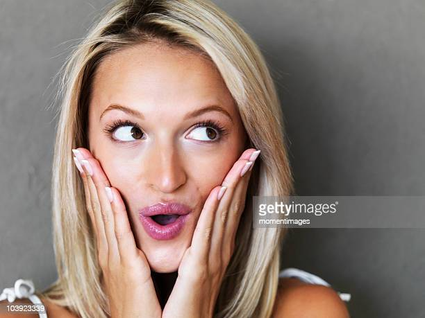 Surprised blond woman