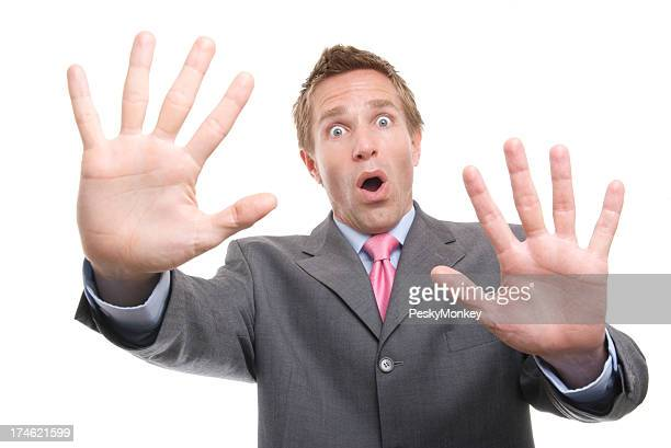 Surprised Businessman Both Hands Up Whoa! White Background