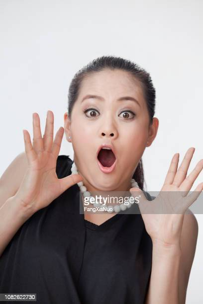 Surprised Chinese woman studio shot portrait