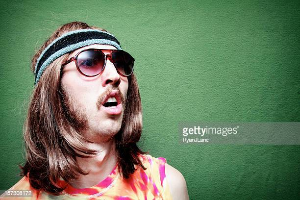 surprised hippy man with mustache and long hair - sideburn stock pictures, royalty-free photos & images