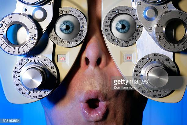 Surprised Man Getting Eye Exam