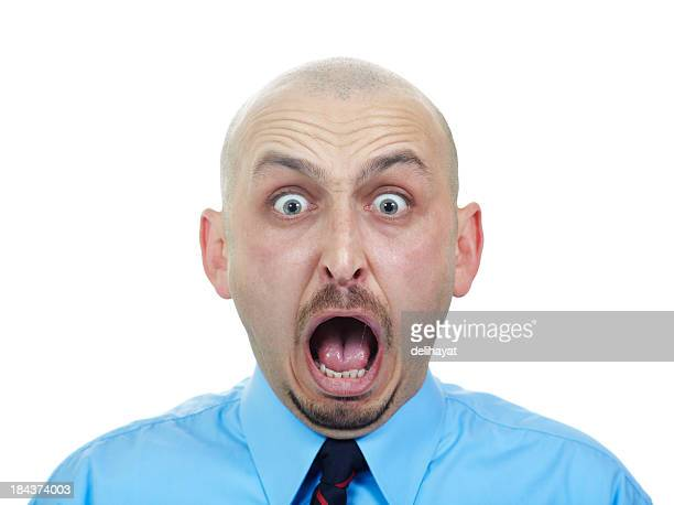 surprised - ugly bald man stock photos and pictures