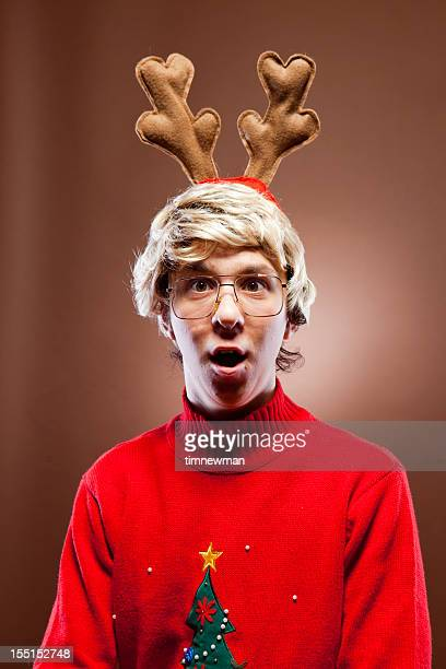 Surprised Reindeer Christmas Boy