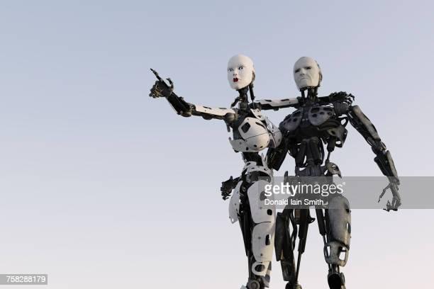 Surprised robot couple