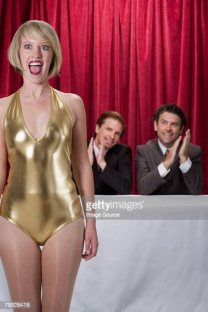 surprised woman at a competition - leotard stock pictures, royalty-free photos & images