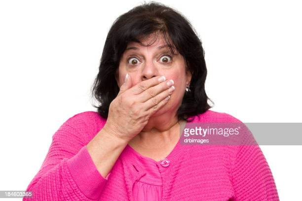 surprised woman covers mouth - short hair for fat women stock pictures, royalty-free photos & images