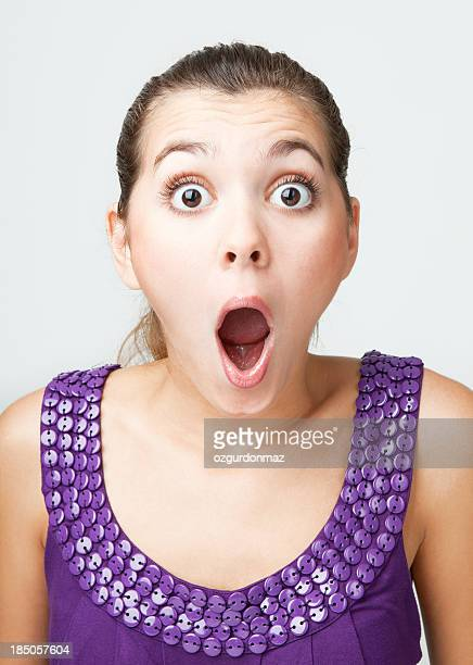 surprised young girl - mouth open stock pictures, royalty-free photos & images