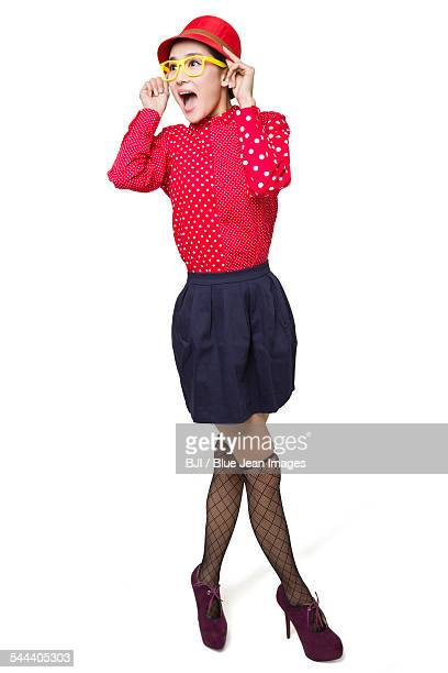 surprised young woman - 若い女性一人 ストックフォトと画像