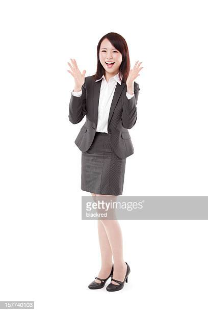 surprising attractive businesswoman on white background - human mouth stock pictures, royalty-free photos & images
