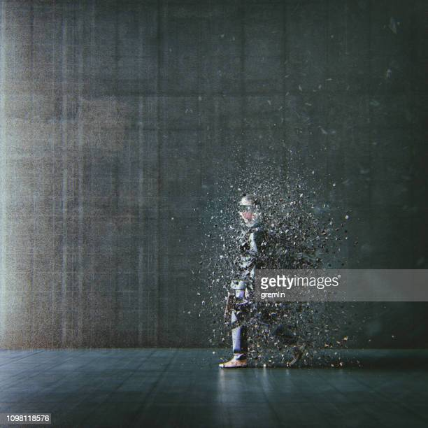 surreal abstract businessman disintegration - decline stock pictures, royalty-free photos & images