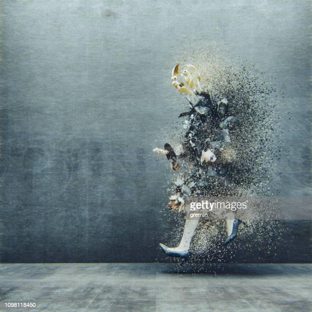 surreal abstract businesswoman disintegration - deterioration stock pictures, royalty-free photos & images
