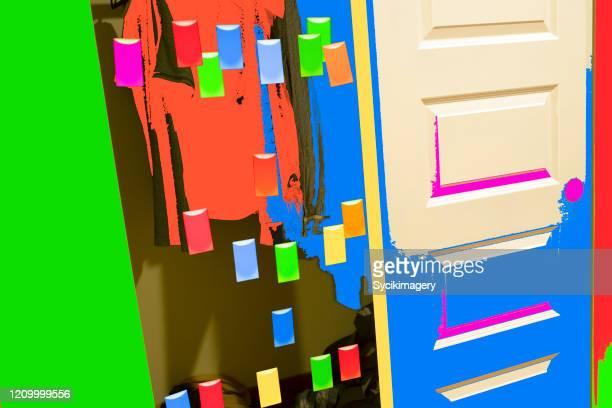 surreal, abstract closet scene - home interior - sistemazione foto e immagini stock