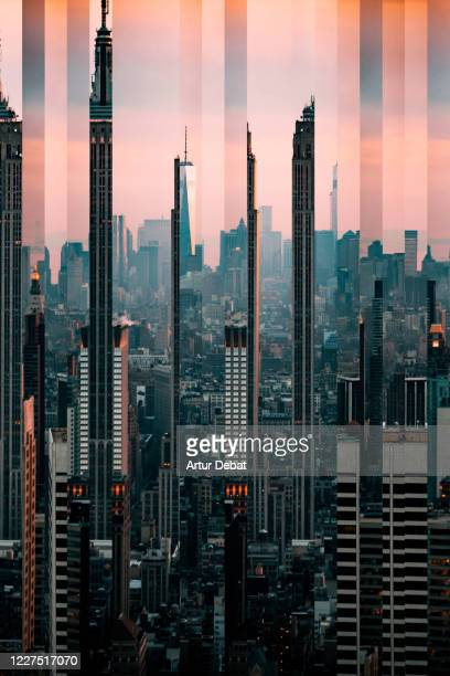 surreal abstract picture of the manhattan skyline with pink sky and distorted strips. - new york city stock pictures, royalty-free photos & images