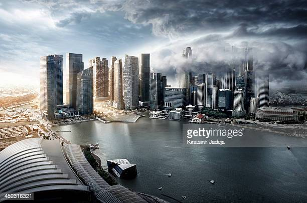 Surreal And Atmospheric Aerial View Of Singapore