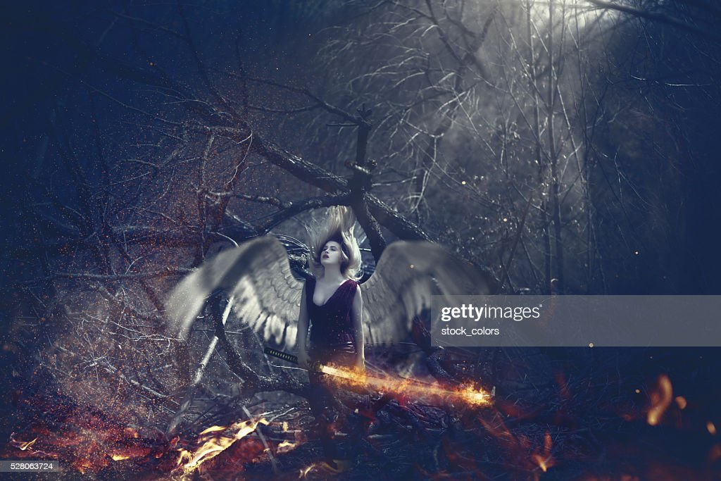 surreal angel in the woodland : Stock Photo