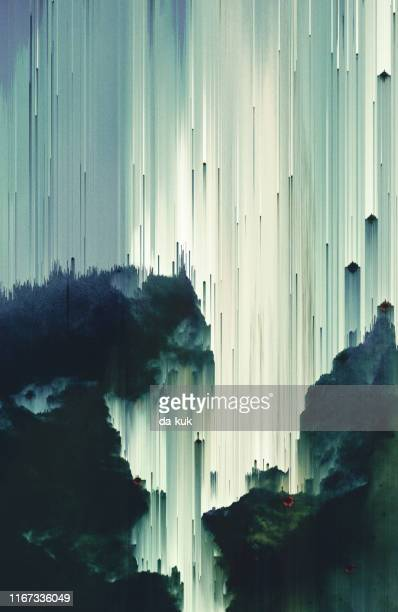surreal background art poster. pixel sorting technique - distorted image stock pictures, royalty-free photos & images