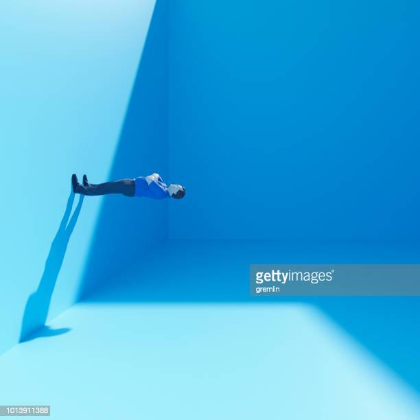 surreal businessman standing in cubic room - images stock pictures, royalty-free photos & images