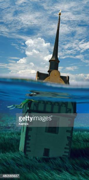 surreal - church under water