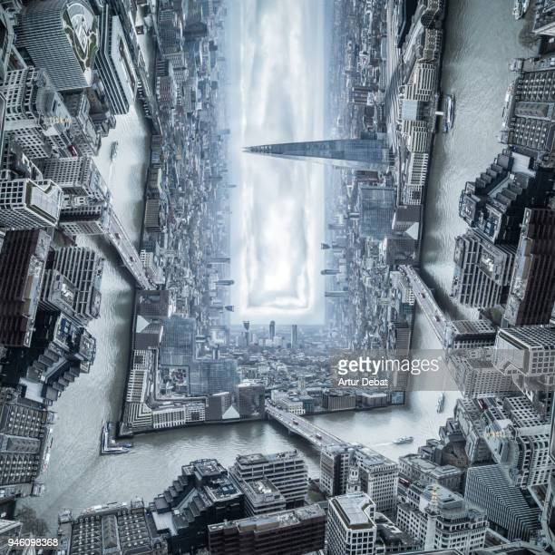 surreal cityscape of london bending the horizon 90 degrees creating original view of the city. - upside down stock pictures, royalty-free photos & images