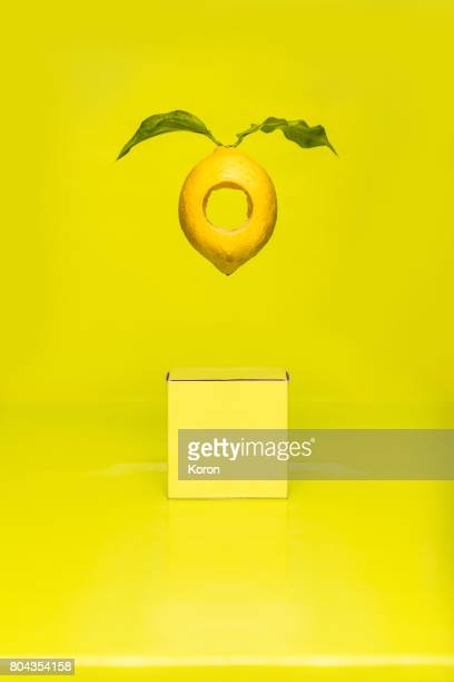 Surreal Floating Monochrome Lemon With a Real Hole in the Center