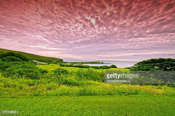 surreal hawaiian landscape - lanai stock photos and pictures