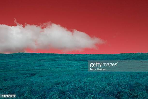 Surreal Icelandic Landscape with White Cloud