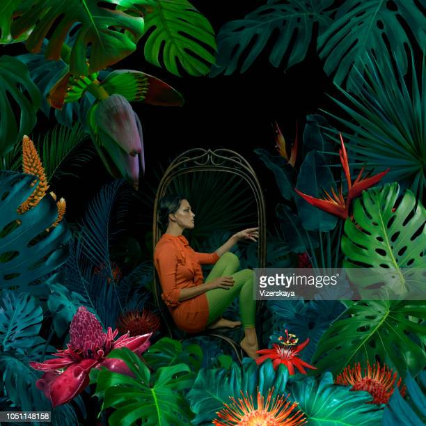surreal jungle portrait - fashion stock pictures, royalty-free photos & images