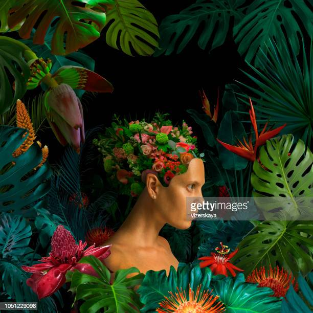 surreal jungle portrait - floral pattern stock pictures, royalty-free photos & images