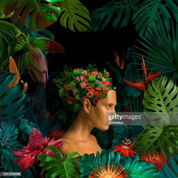 retrato surrealista de la selva - surrealista fotografías e imágenes de stock