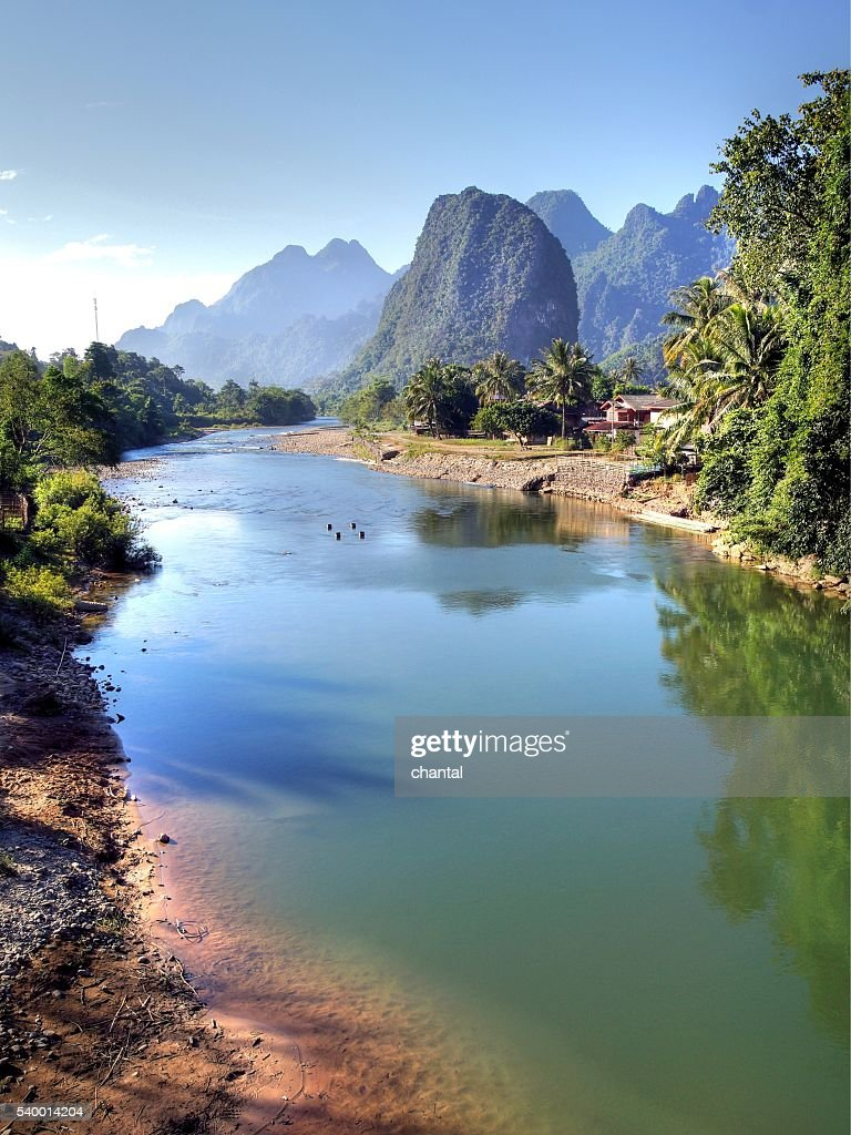 Surreal landscape by the Song river at Vang Vieng : Stock Photo