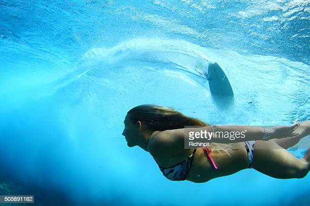 Surreal look of a swimmer undear a surfer