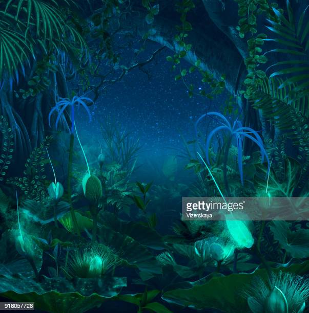 surreal night jungle with luminescent plants and flowers - fairy stock photos and pictures