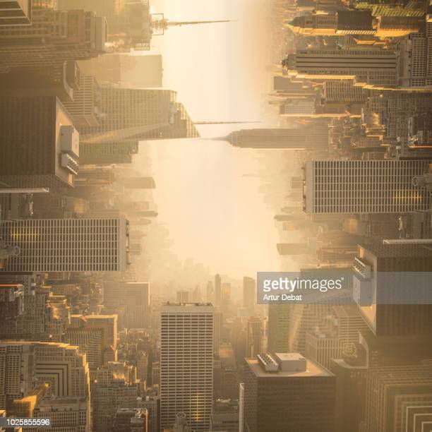 surreal picture of manhattan skyline bending the cityscape. - upside down stock pictures, royalty-free photos & images