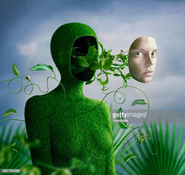 surrealistisch portret in groenen - menselijk hoofd stockfoto's en -beelden