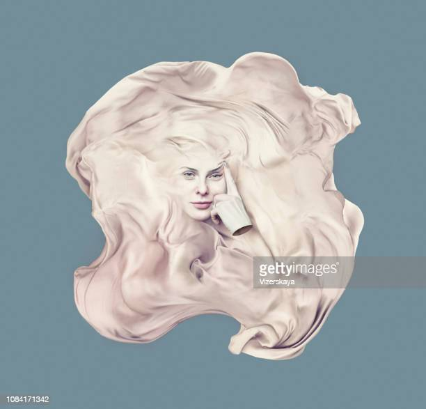 surreal portrait of young women - cloth face mask stock pictures, royalty-free photos & images