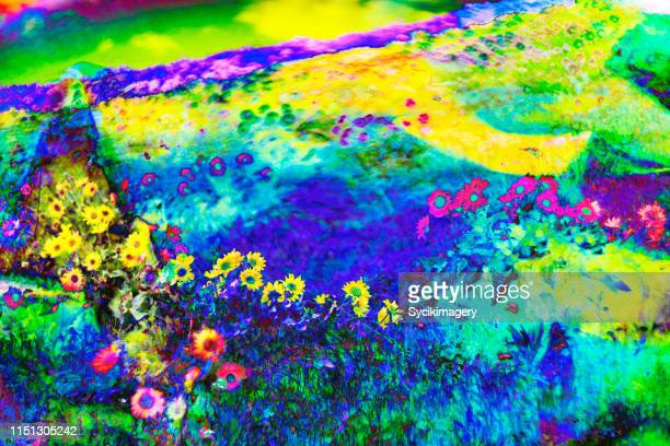 surreal, psychedelic wildflower meadow landscape - trippy stock pictures, royalty-free photos & images