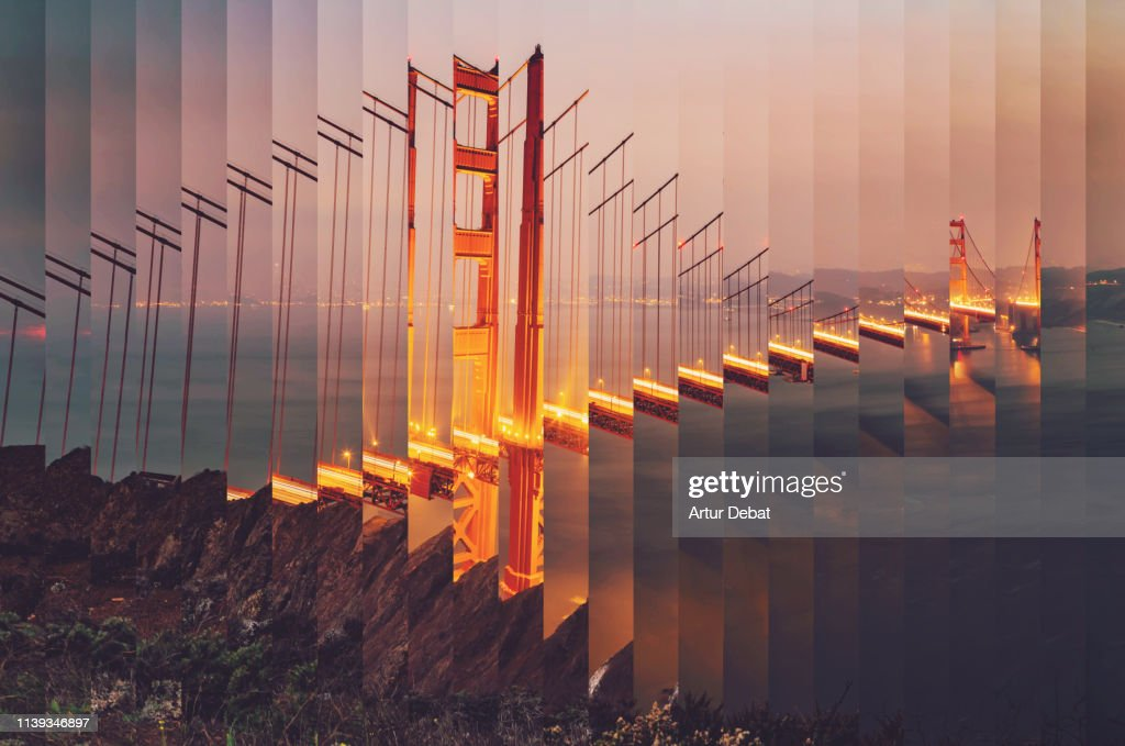 Surreal rearranged strips picture of the Golden Gate bridge at dusk with cool effect. : Stockfoto
