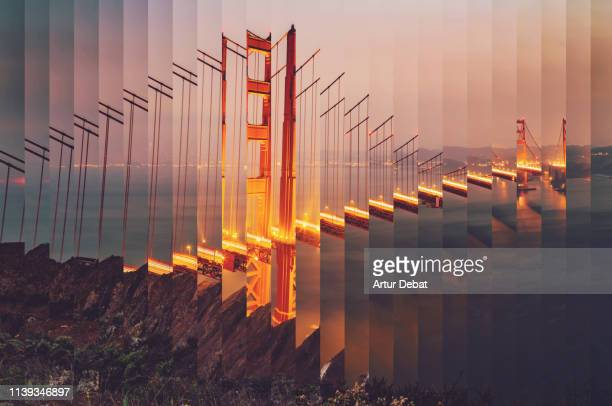 surreal rearranged strips picture of the golden gate bridge at dusk with cool effect. - verandering stockfoto's en -beelden