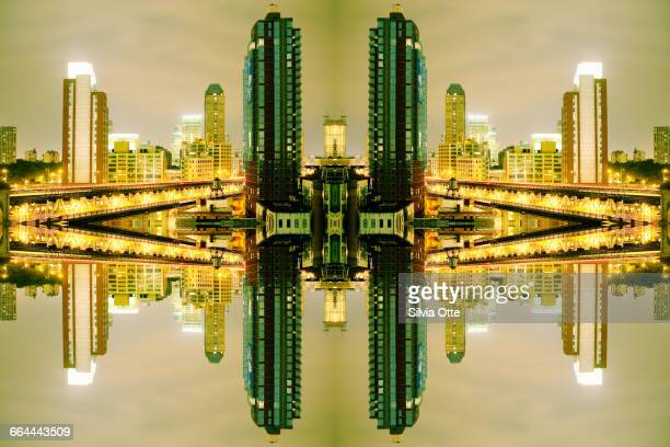 surreal view of brooklyn skyscrapers at night - kaleidoscope stock photos and pictures
